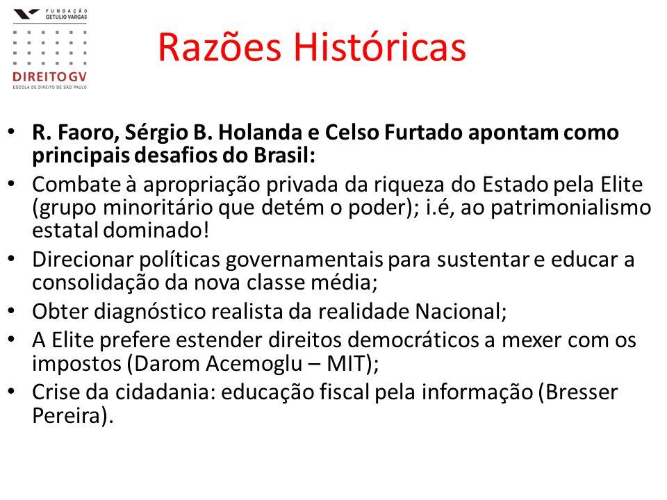 Razões Históricas R. Faoro, Sérgio B. Holanda e Celso Furtado apontam como principais desafios do Brasil: