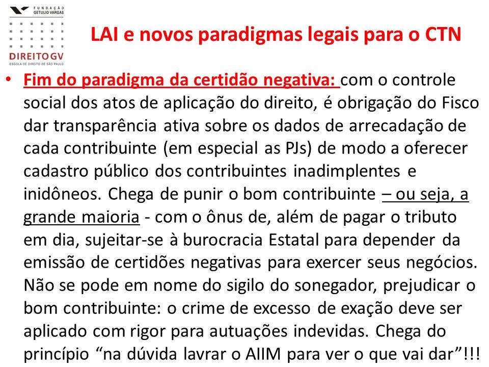 LAI e novos paradigmas legais para o CTN