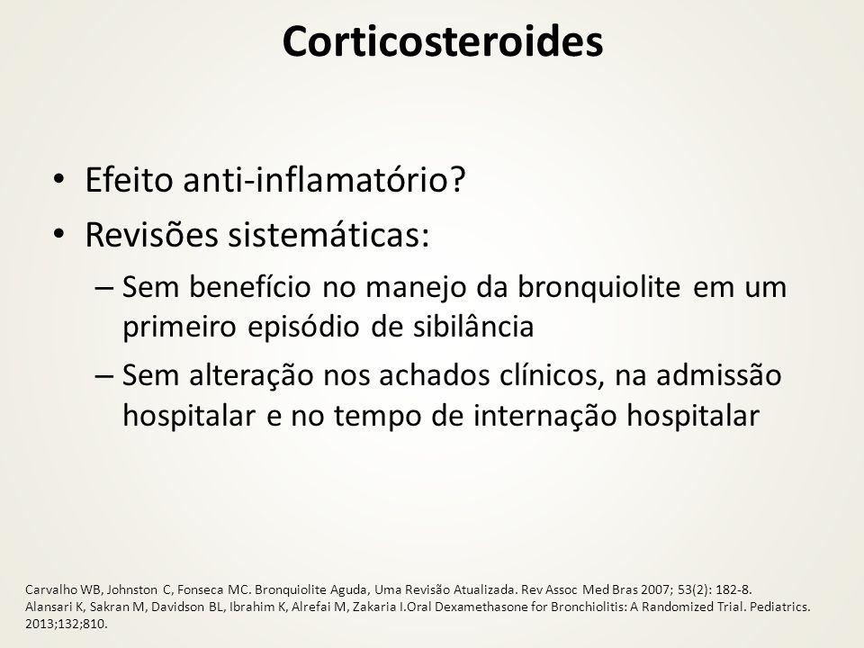 Corticosteroides Efeito anti-inflamatório Revisões sistemáticas: