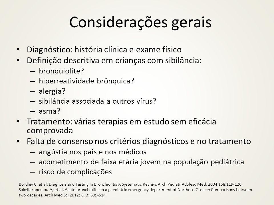Considerações gerais Diagnóstico: história clínica e exame físico
