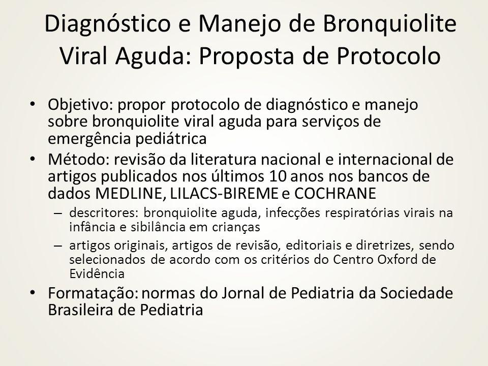 Diagnóstico e Manejo de Bronquiolite Viral Aguda: Proposta de Protocolo