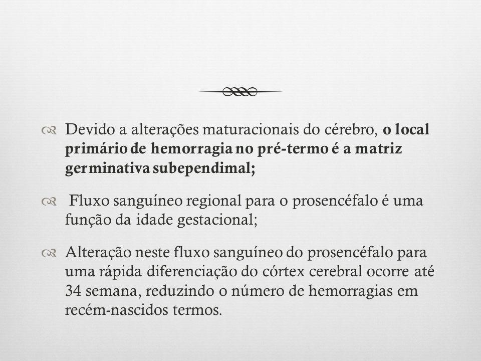 Devido a alterações maturacionais do cérebro, o local primário de hemorragia no pré-termo é a matriz germinativa subependimal;