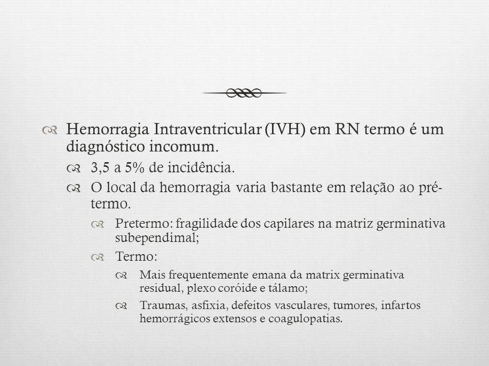 Hemorragia Intraventricular (IVH) em RN termo é um diagnóstico incomum.