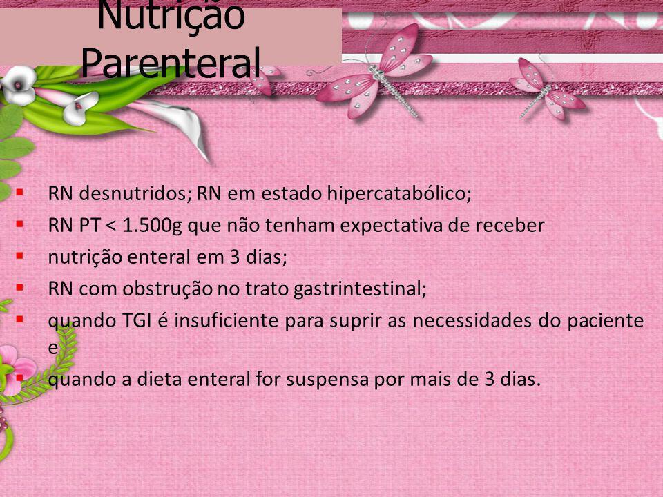 Nutrição Parenteral RN desnutridos; RN em estado hipercatabólico;