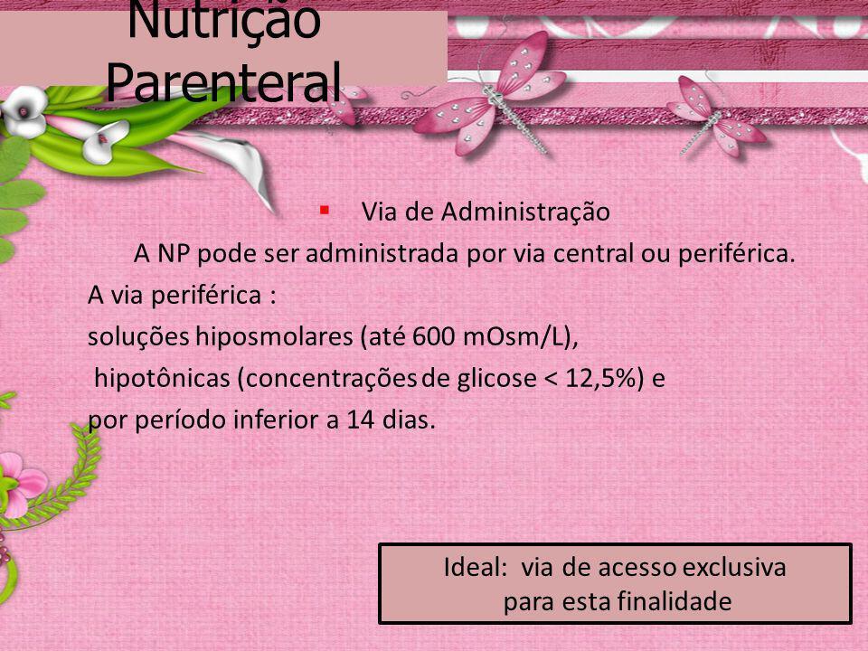 Nutrição Parenteral Via de Administração