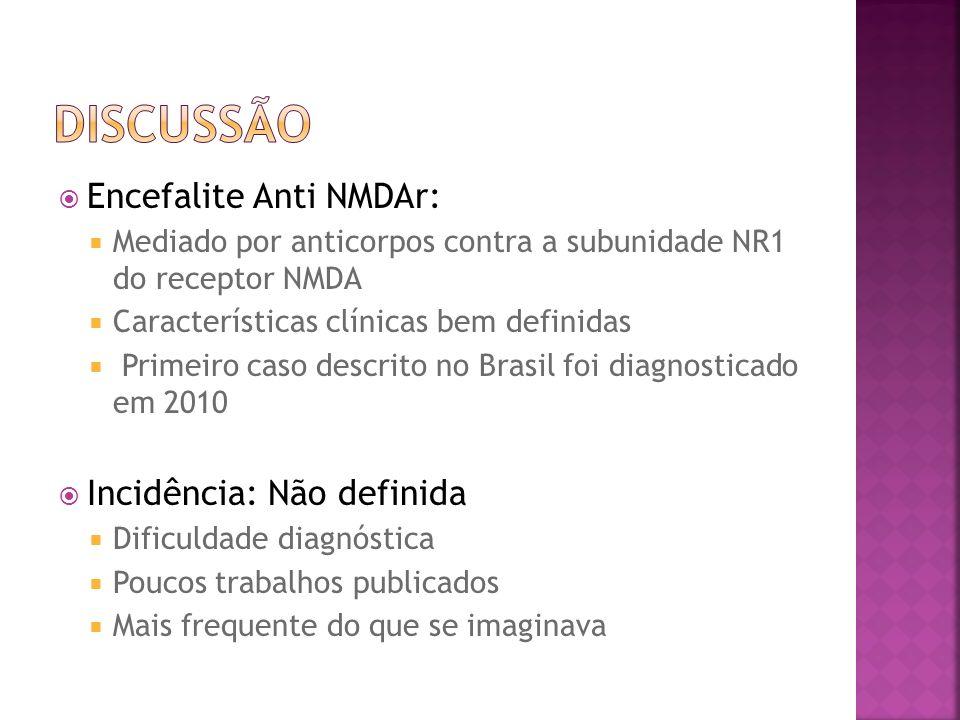 DISCUSSÃO Encefalite Anti NMDAr: Incidência: Não definida