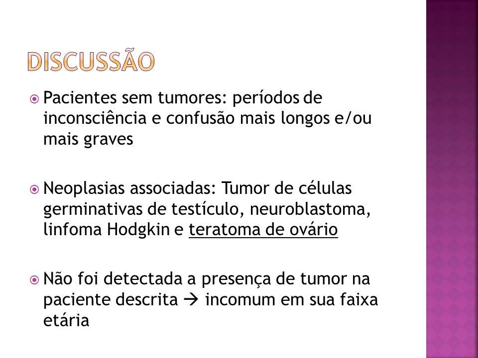 DISCUSSÃO Pacientes sem tumores: períodos de inconsciência e confusão mais longos e/ou mais graves.