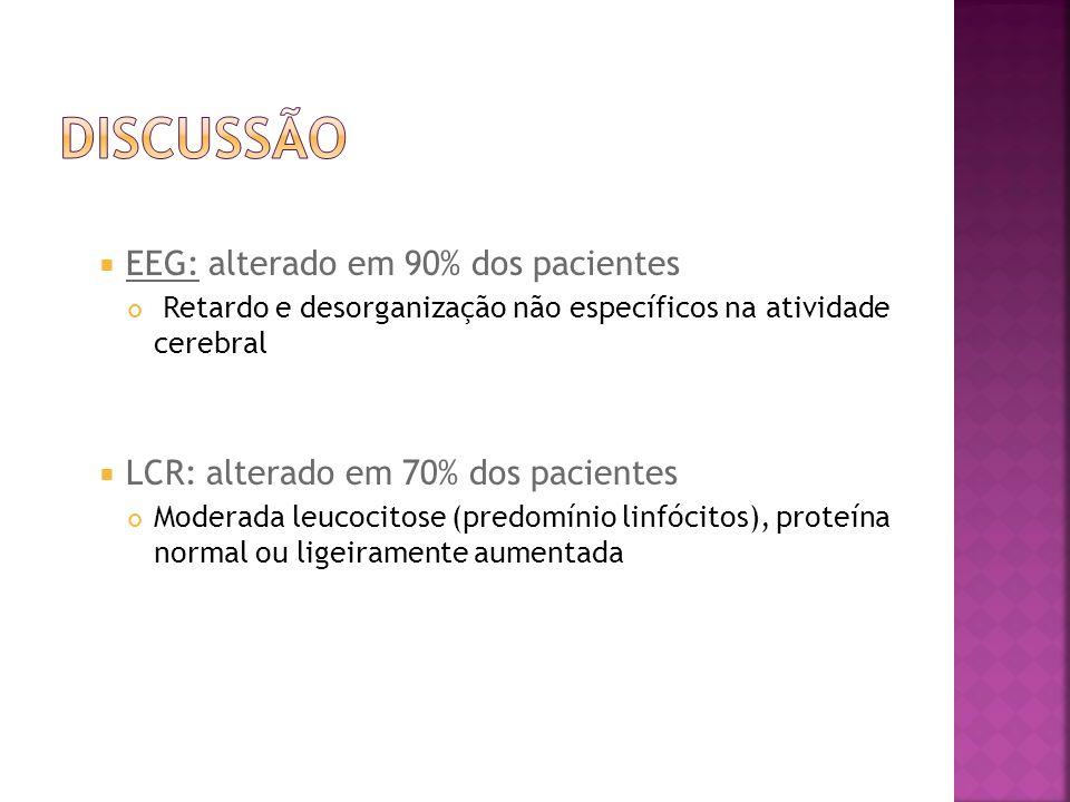 DISCUSSÃO EEG: alterado em 90% dos pacientes