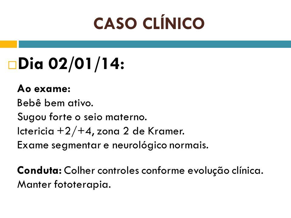 Dia 02/01/14: CASO CLÍNICO Ao exame: Bebê bem ativo.