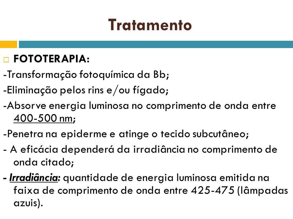 Tratamento FOTOTERAPIA: -Transformação fotoquímica da Bb;