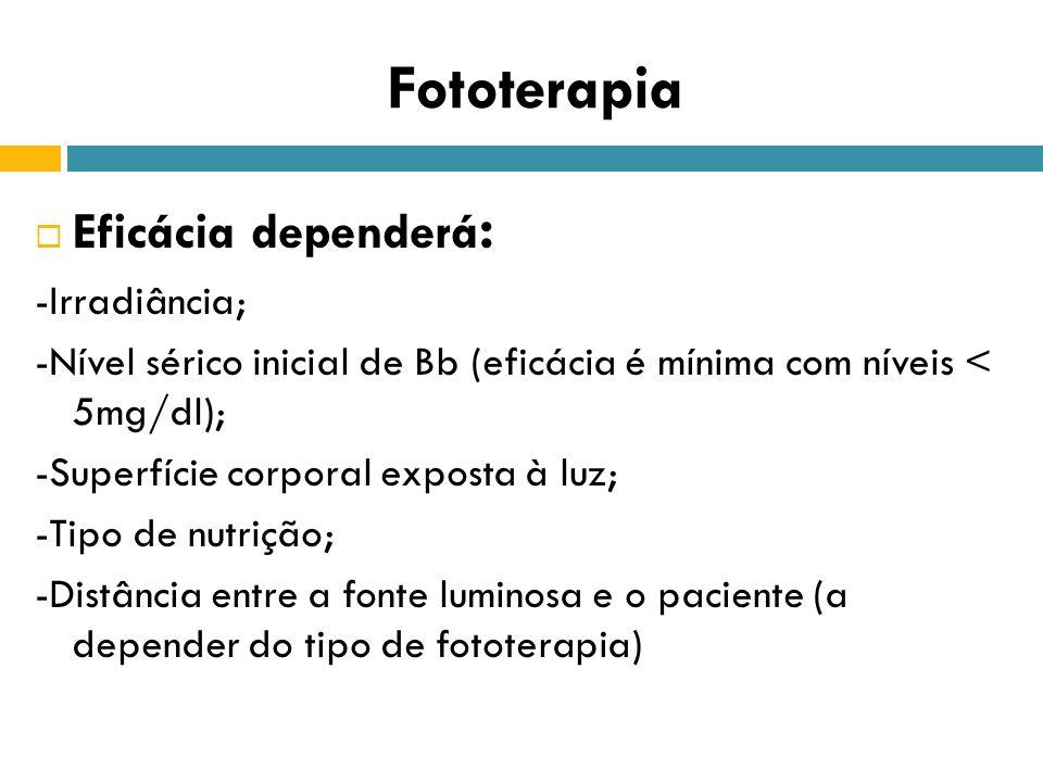 Fototerapia Eficácia dependerá: -Irradiância;