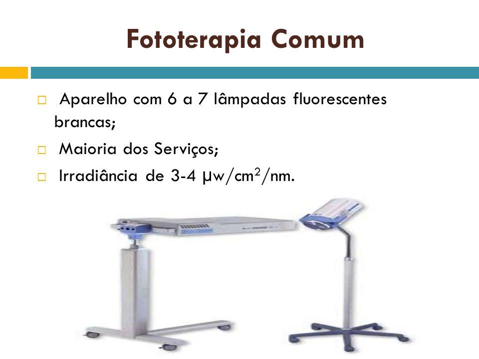 Fototerapia Comum Aparelho com 6 a 7 lâmpadas fluorescentes brancas;