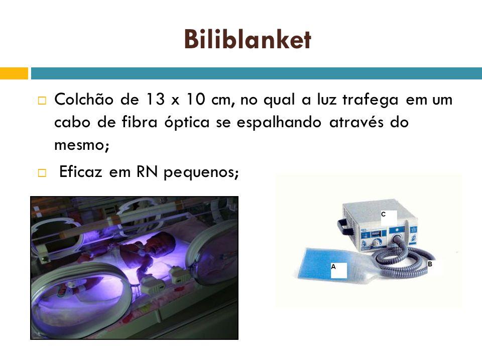 Biliblanket Colchão de 13 x 10 cm, no qual a luz trafega em um cabo de fibra óptica se espalhando através do mesmo;
