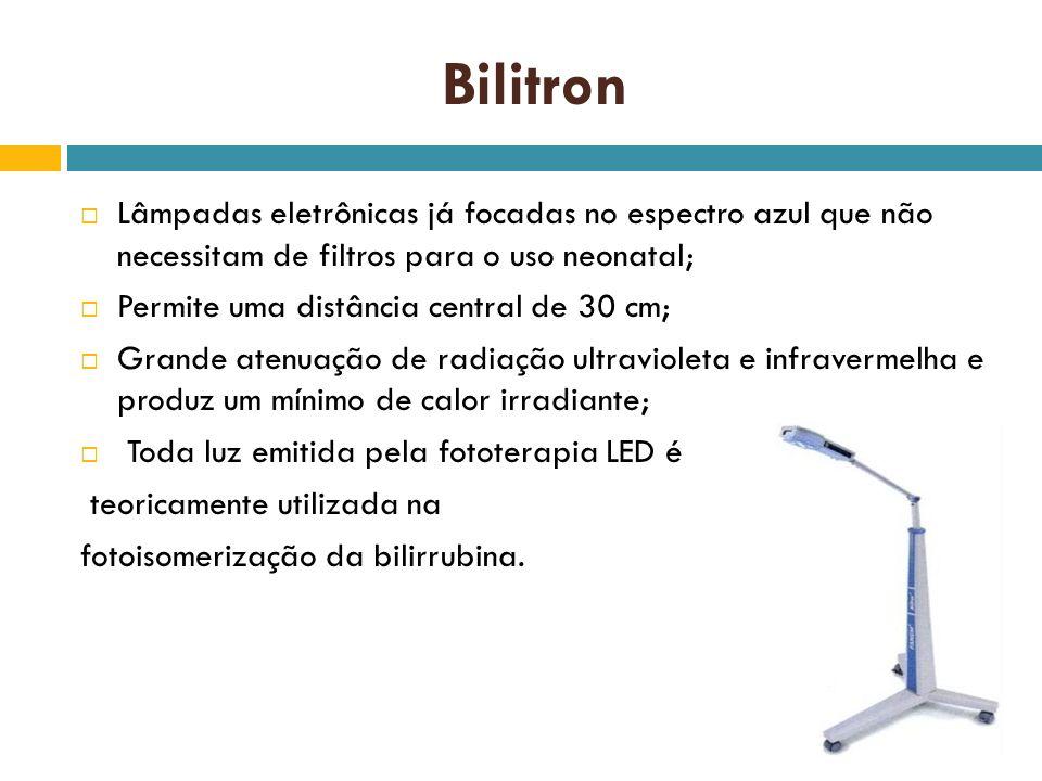 Bilitron Lâmpadas eletrônicas já focadas no espectro azul que não necessitam de filtros para o uso neonatal;