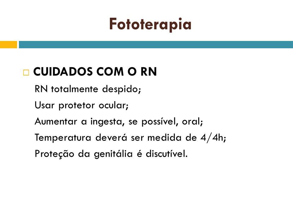 Fototerapia CUIDADOS COM O RN RN totalmente despido;