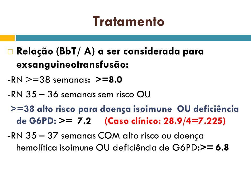 Tratamento Relação (BbT/ A) a ser considerada para exsanguineotransfusão: -RN >=38 semanas: >=8.0.