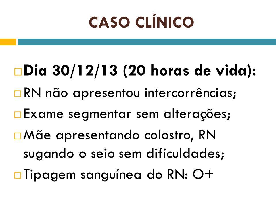 CASO CLÍNICO Dia 30/12/13 (20 horas de vida):