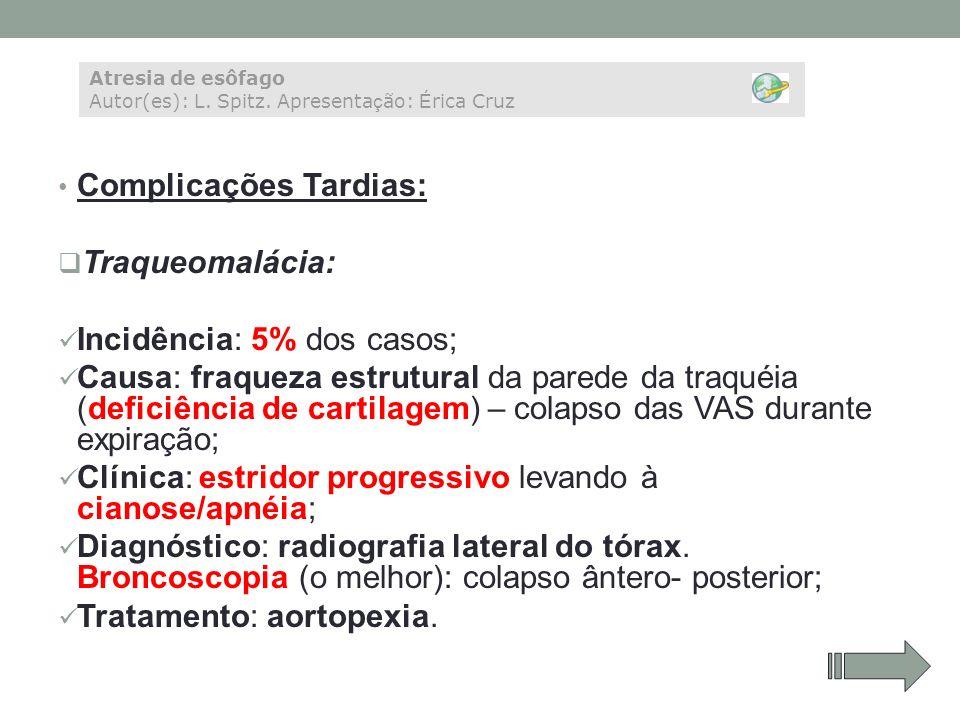 Complicações Tardias: Traqueomalácia: Incidência: 5% dos casos;
