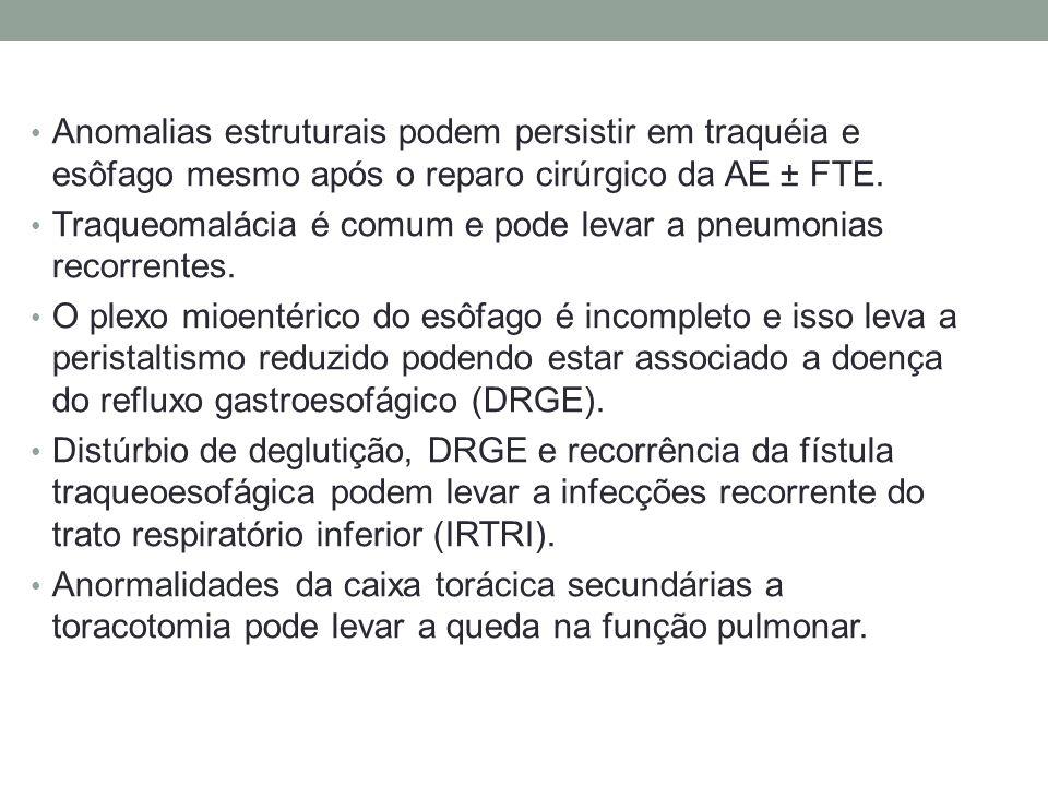 Anomalias estruturais podem persistir em traquéia e esôfago mesmo após o reparo cirúrgico da AE ± FTE.