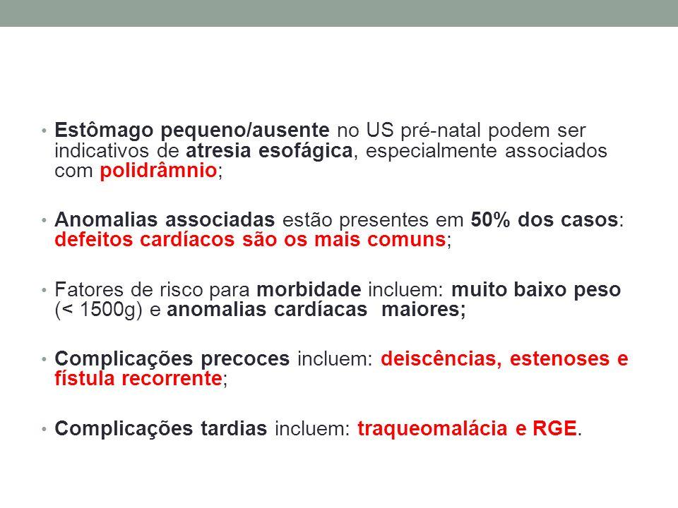 Estômago pequeno/ausente no US pré-natal podem ser indicativos de atresia esofágica, especialmente associados com polidrâmnio;