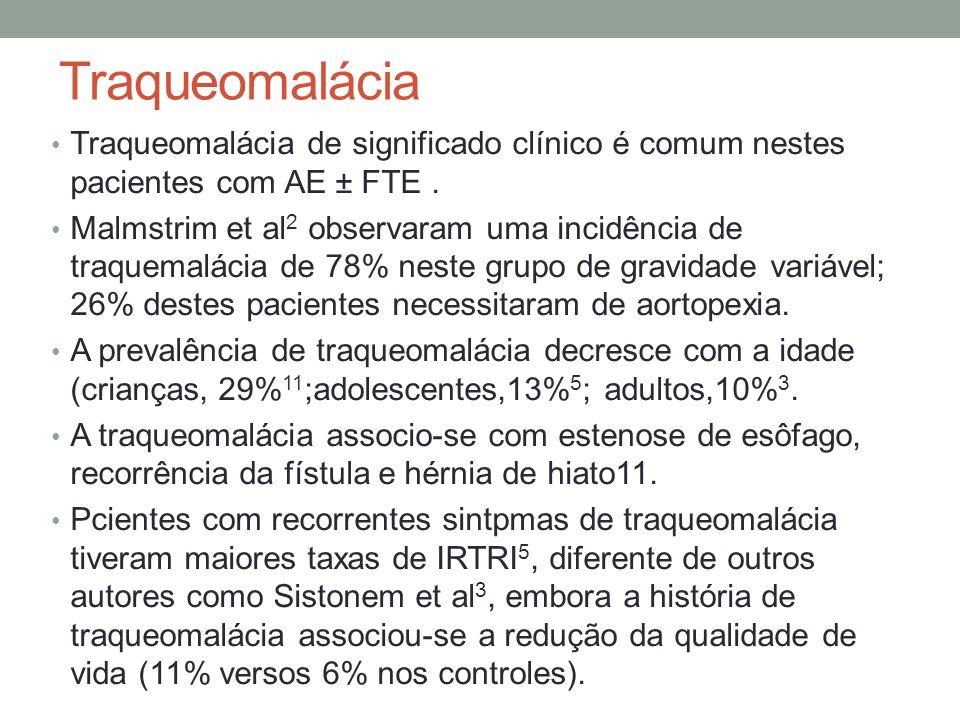 Traqueomalácia Traqueomalácia de significado clínico é comum nestes pacientes com AE ± FTE .