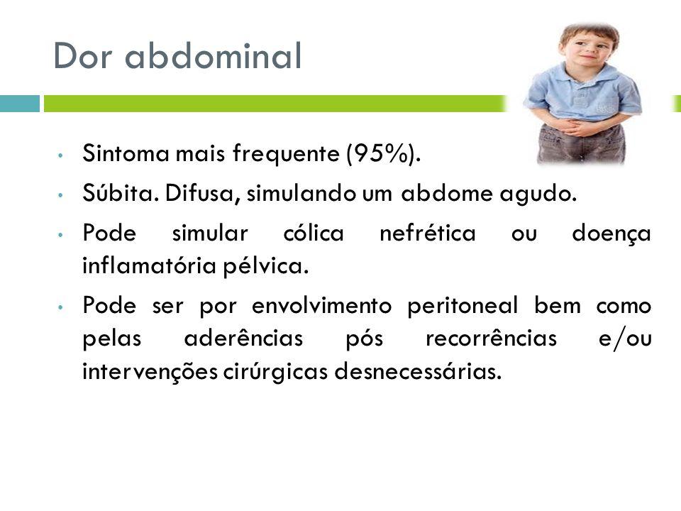 Dor abdominal Sintoma mais frequente (95%).
