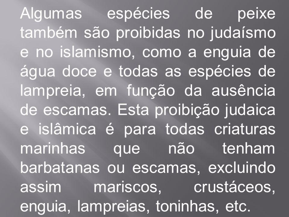 Algumas espécies de peixe também são proibidas no judaísmo e no islamismo, como a enguia de água doce e todas as espécies de lampreia, em função da ausência de escamas.