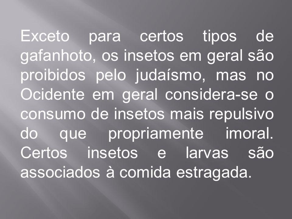 Exceto para certos tipos de gafanhoto, os insetos em geral são proibidos pelo judaísmo, mas no Ocidente em geral considera-se o consumo de insetos mais repulsivo do que propriamente imoral.