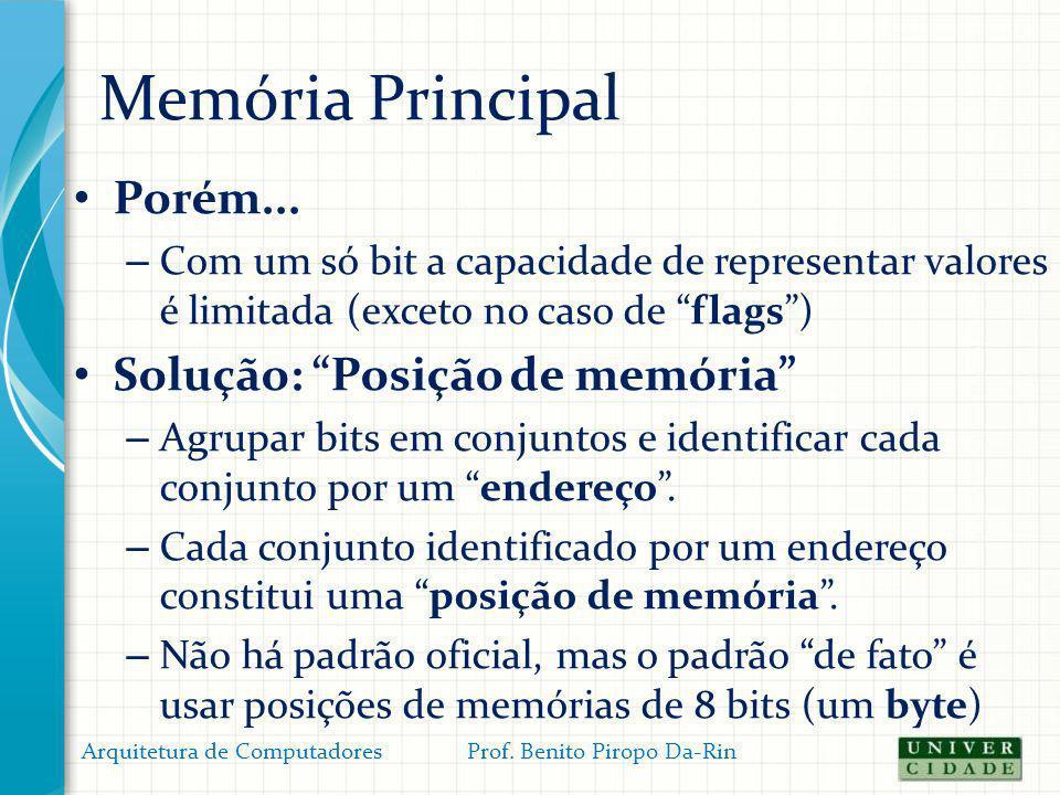 Memória Principal Porém... Solução: Posição de memória