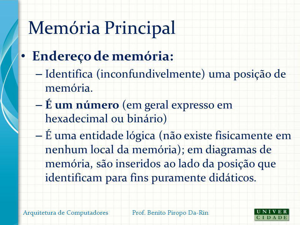 Memória Principal Endereço de memória: