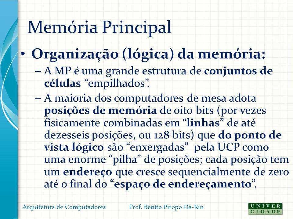 Memória Principal Organização (lógica) da memória: