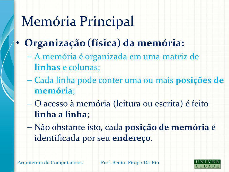 Memória Principal Organização (física) da memória: