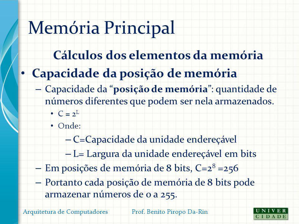 Cálculos dos elementos da memória