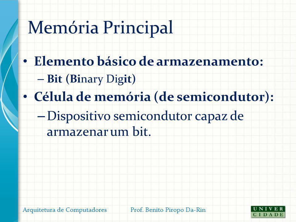 Memória Principal Elemento básico de armazenamento: