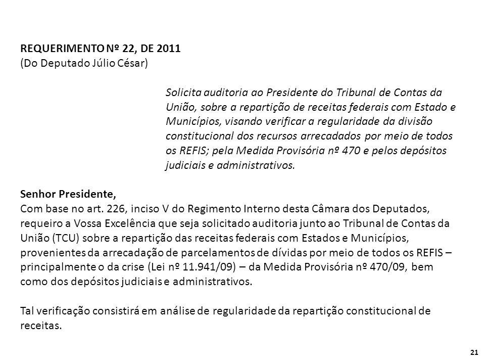 REQUERIMENTO Nº 22, DE 2011 (Do Deputado Júlio César)