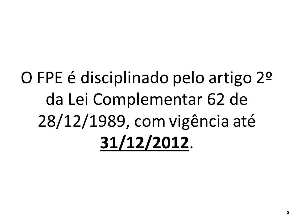 O FPE é disciplinado pelo artigo 2º da Lei Complementar 62 de 28/12/1989, com vigência até 31/12/2012.