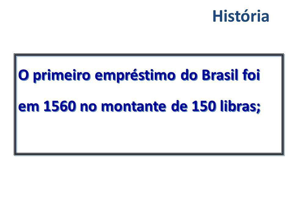 História O primeiro empréstimo do Brasil foi em 1560 no montante de 150 libras;
