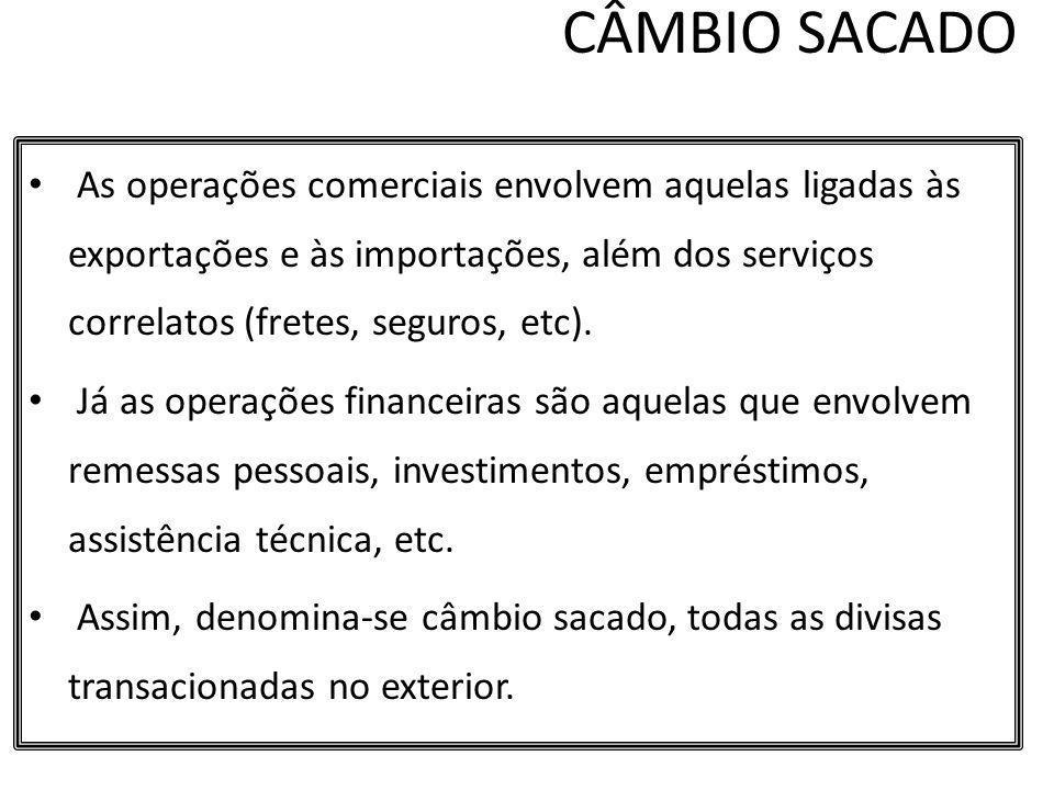 CÂMBIO SACADO As operações comerciais envolvem aquelas ligadas às exportações e às importações, além dos serviços correlatos (fretes, seguros, etc).