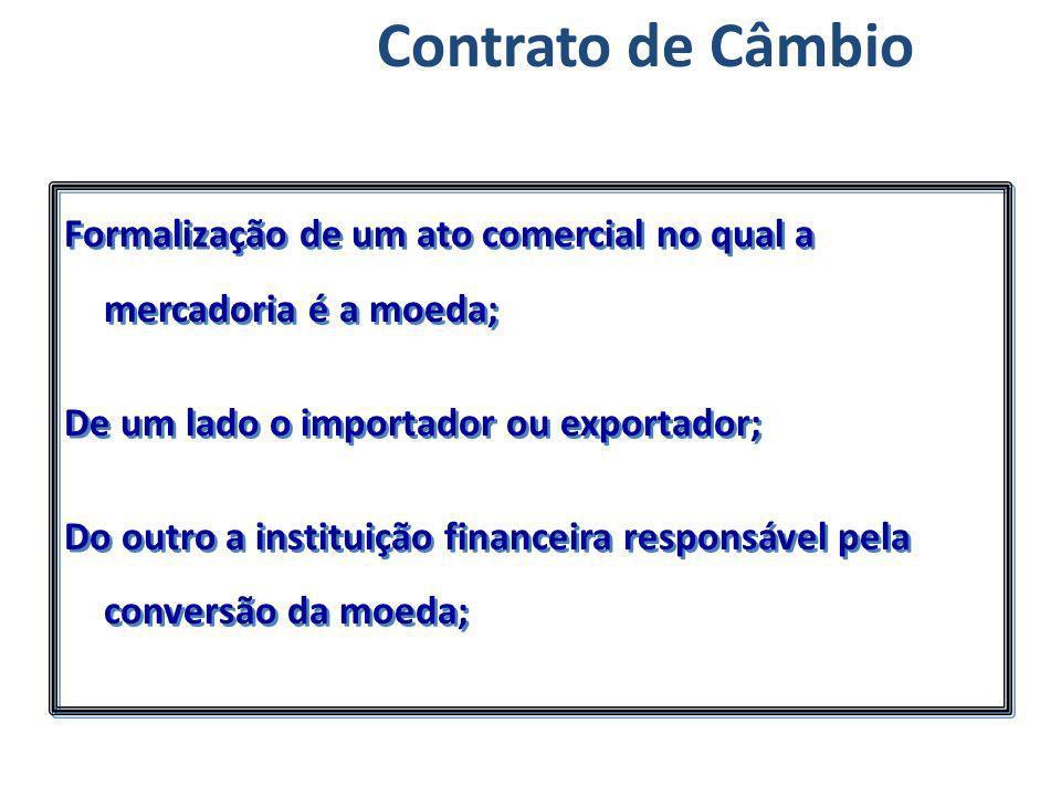Contrato de Câmbio Formalização de um ato comercial no qual a mercadoria é a moeda; De um lado o importador ou exportador;