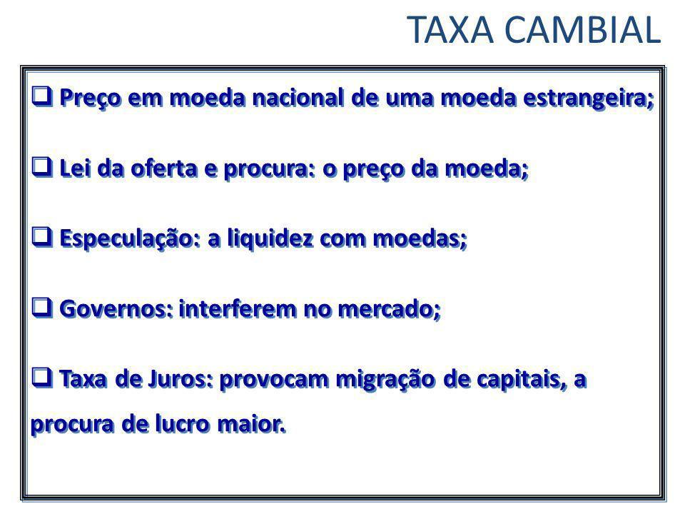 TAXA CAMBIAL Preço em moeda nacional de uma moeda estrangeira;