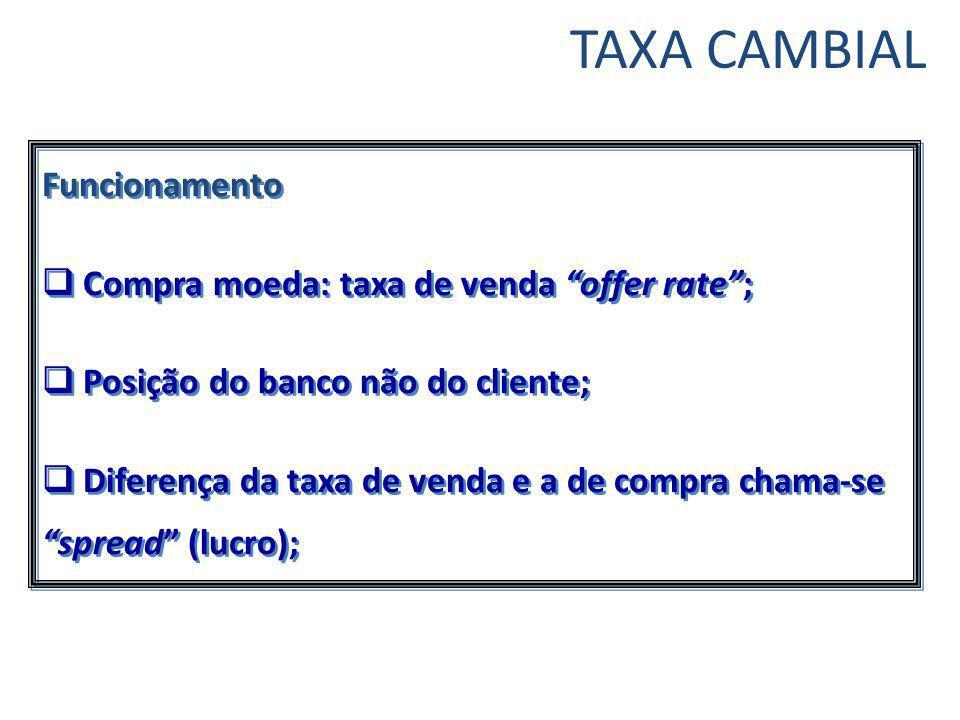 TAXA CAMBIAL Funcionamento Compra moeda: taxa de venda offer rate ;