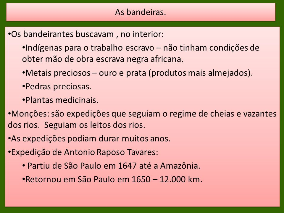 As bandeiras. Os bandeirantes buscavam , no interior: