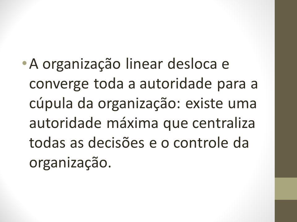A organização linear desloca e converge toda a autoridade para a cúpula da organização: existe uma autoridade máxima que centraliza todas as decisões e o controle da organização.
