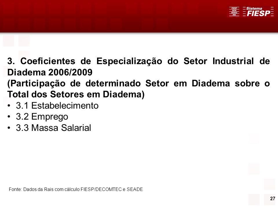 3. Coeficientes de Especialização do Setor Industrial de Diadema 2006/2009