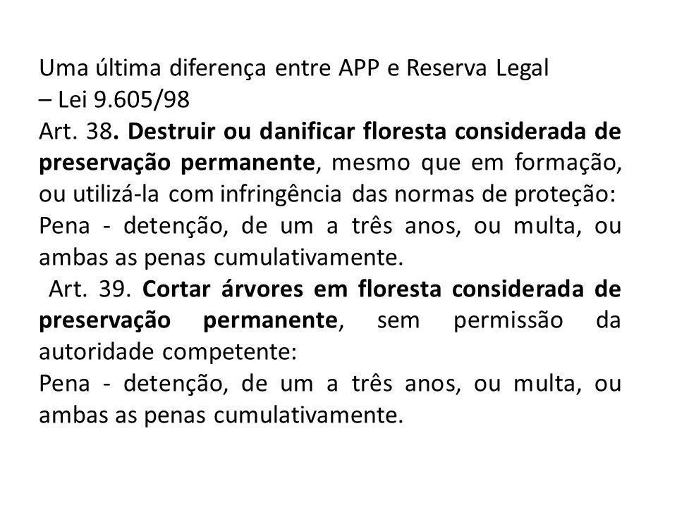 Uma última diferença entre APP e Reserva Legal