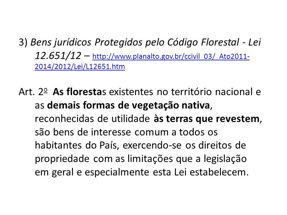 3) Bens jurídicos Protegidos pelo Código Florestal - Lei 12