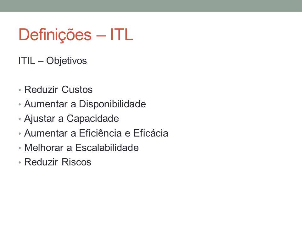Definições – ITL ITIL – Objetivos Reduzir Custos