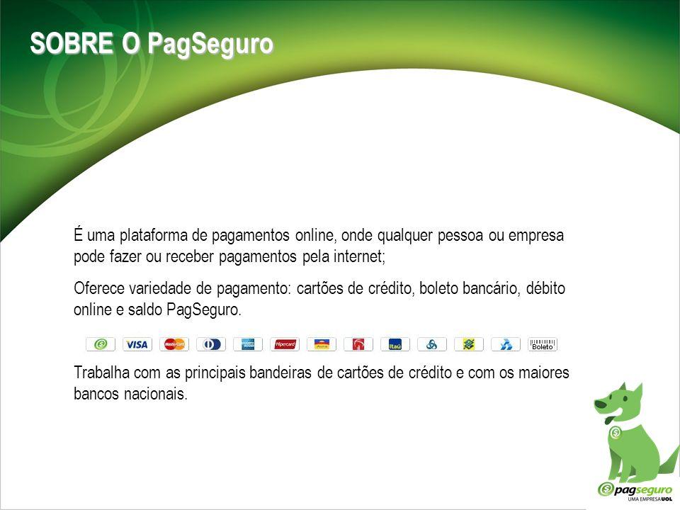 SOBRE O PagSeguro É uma plataforma de pagamentos online, onde qualquer pessoa ou empresa pode fazer ou receber pagamentos pela internet;
