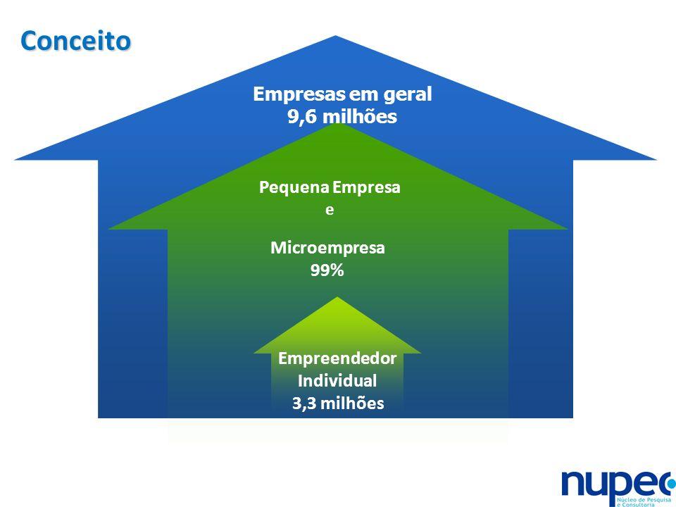 Conceito Empresas em geral 9,6 milhões Pequena Empresa Microempresa