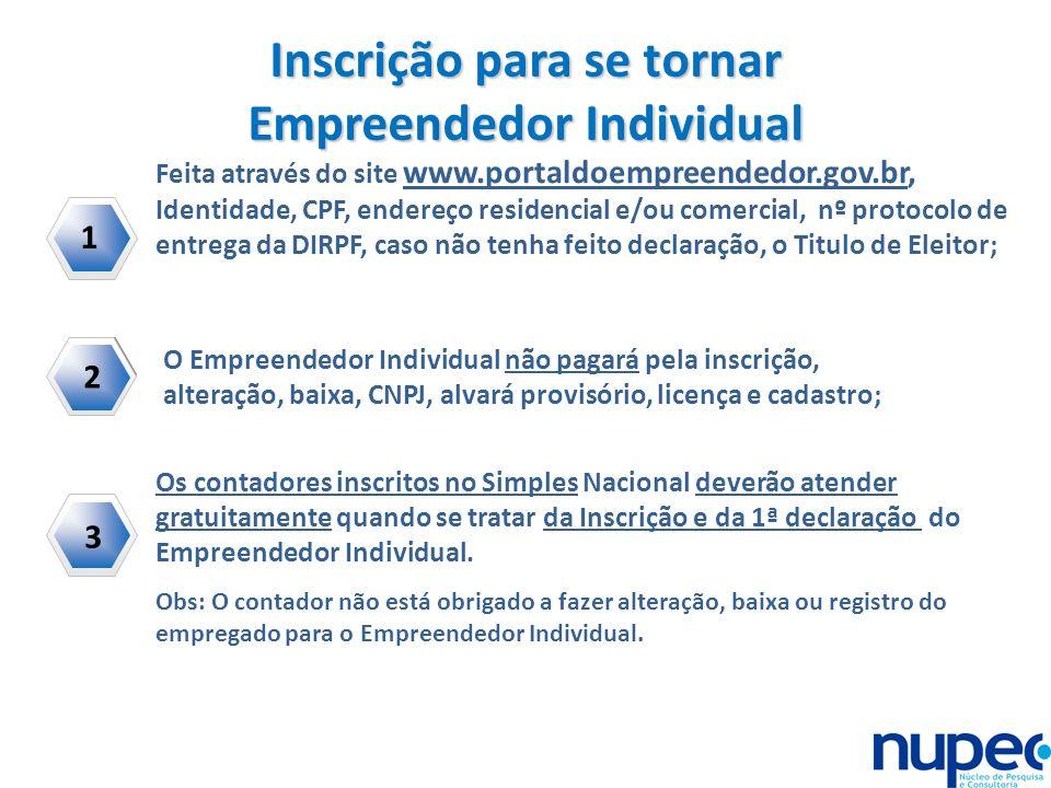 Inscrição para se tornar Empreendedor Individual